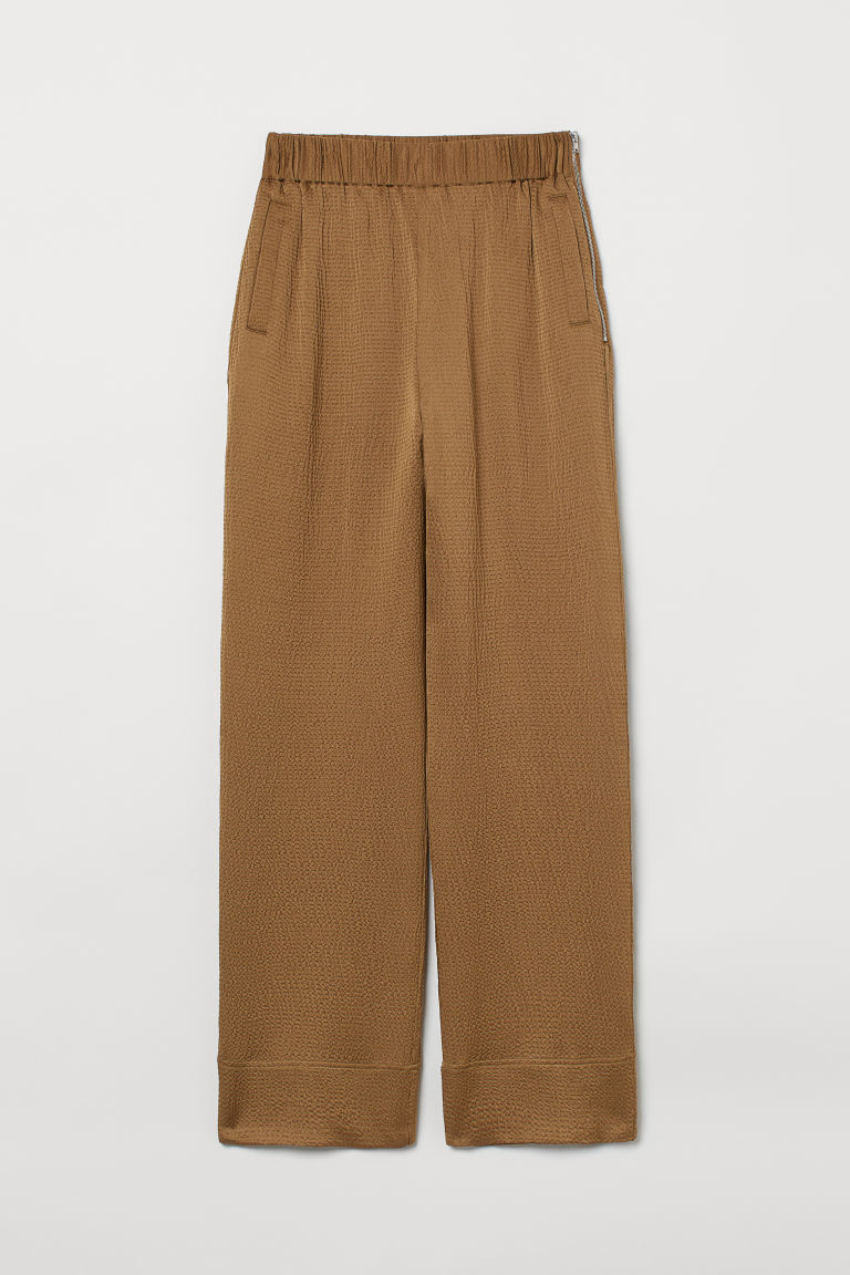 H & M - 真絲混紡長褲 - 米黃色