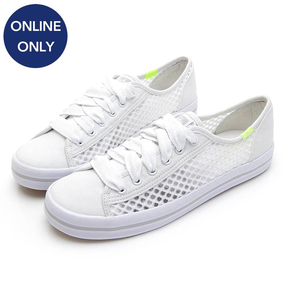 KICKSTART 清新風格縷空網布綁帶休閒鞋-白色