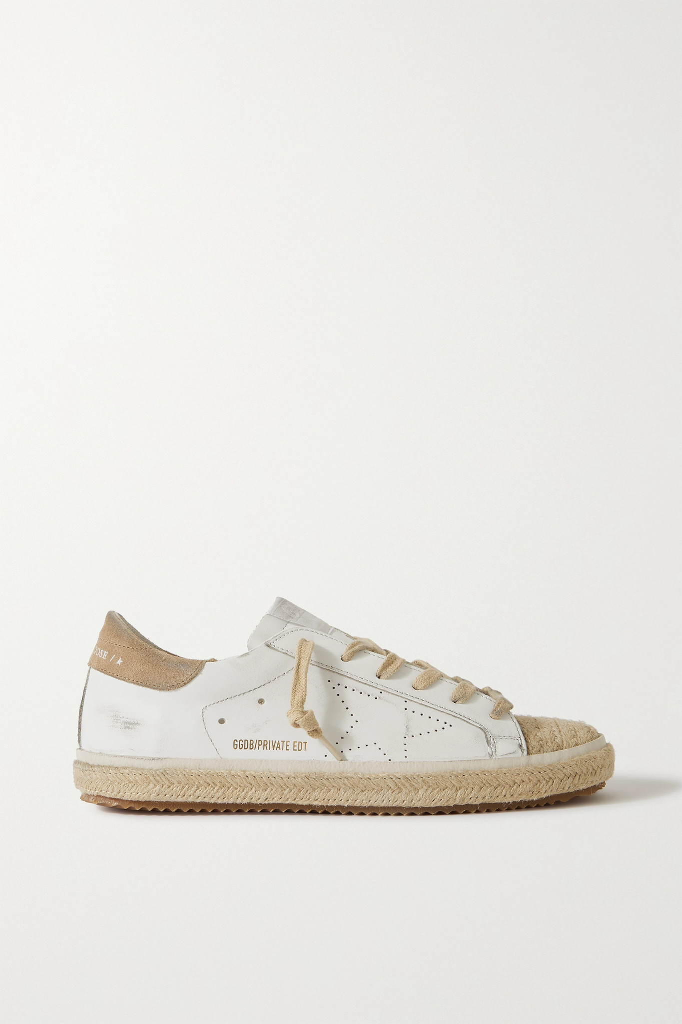 GOLDEN GOOSE - Superstar Distressed Suede-trimmed Leather Espadrille Sneakers - White - IT41