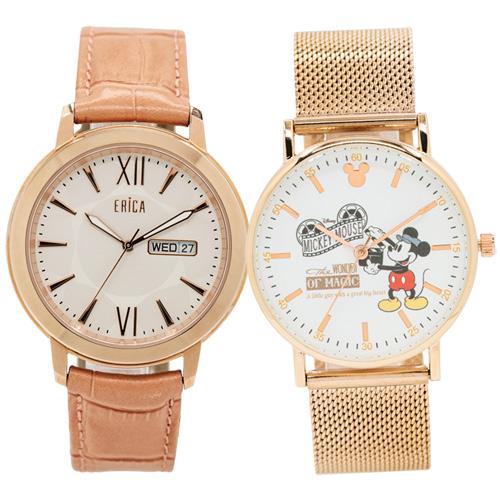 【618大促情人錶 領券再折2%+限量贈品】ERICA 艾瑞卡 X Disney 迪士尼90周年紀念 典雅時尚紀念對錶 ER-17-GLL+米奇 原廠公司貨 熱賣中!