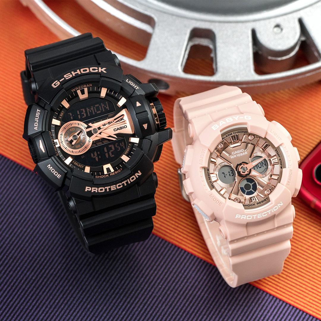 【618年中慶! 日本情人錶下單紅利2%回饋!】G-SHOCK x BABY-G 捍衛愛情潮流情人對錶/黑金x粉金 GA-400GB-1A4DR+BA-130-4ADR 情侶對錶 樹脂錶帶 熱賣中!