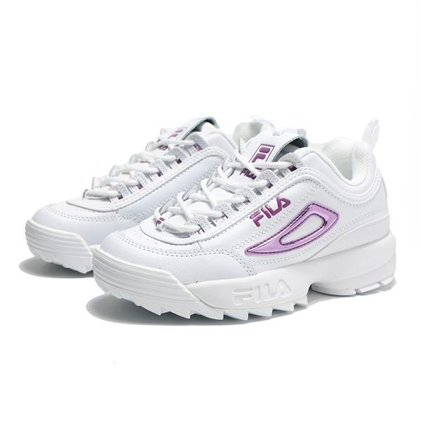 FILA 休閒鞋 DISRUPTOR II 白紫 鋸齒 厚底 增高 老爹鞋 男女 5C608T153