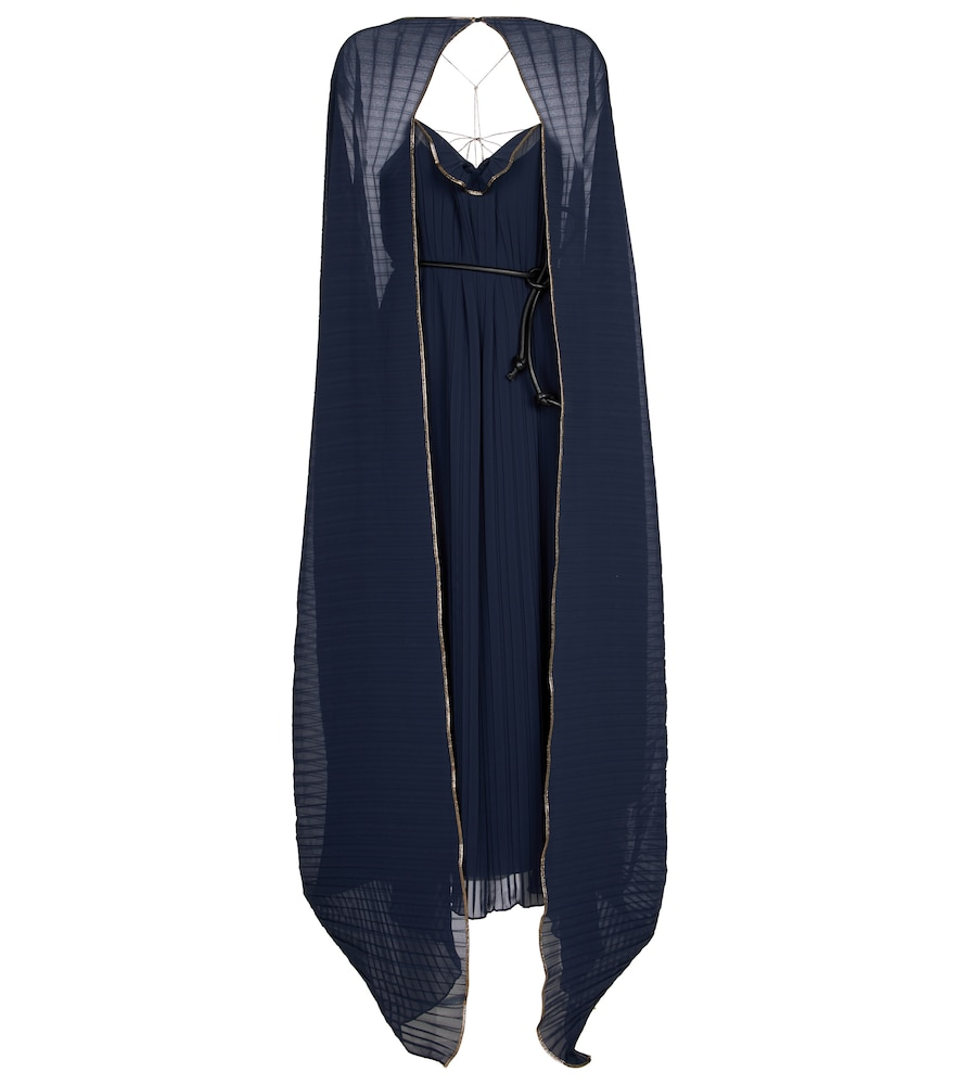 Peron pleated cape gown