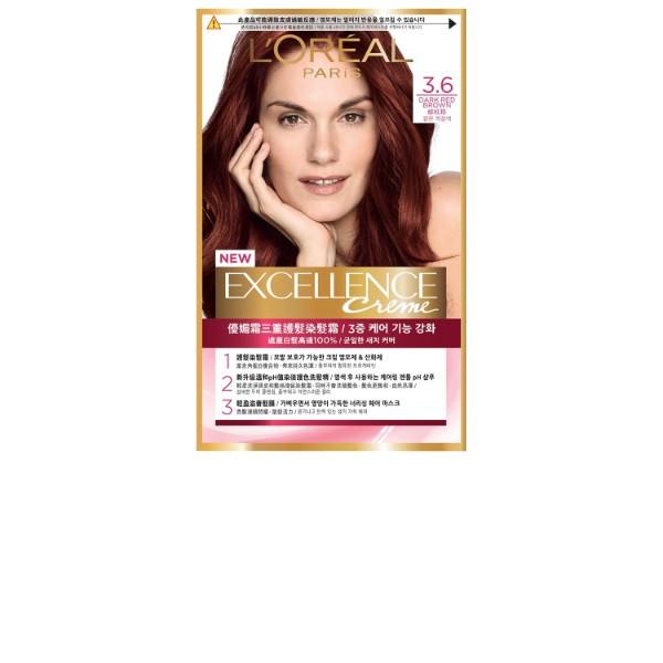 巴黎萊雅優媚霜三重護髮染髮霜 3.6 緋紅棕