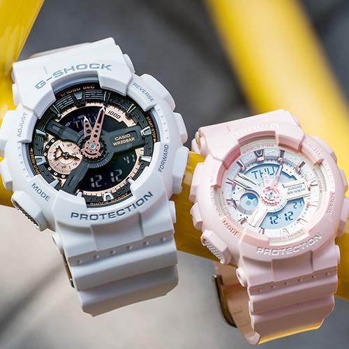 【618年中慶! 日本情人錶下單紅利2%回饋!】G-SHOCK x BABY-G 夏日戀歌運動情人對錶/白金x粉金 GA-110RG-7ADR+BA-110RG-4ADR 情侶對錶 樹脂錶帶 熱賣中!