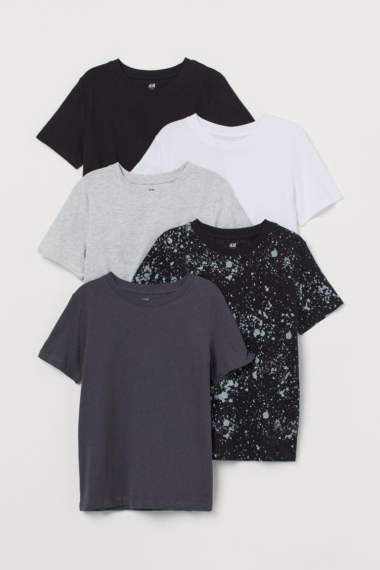 H & M - 5件入T恤 - 灰色