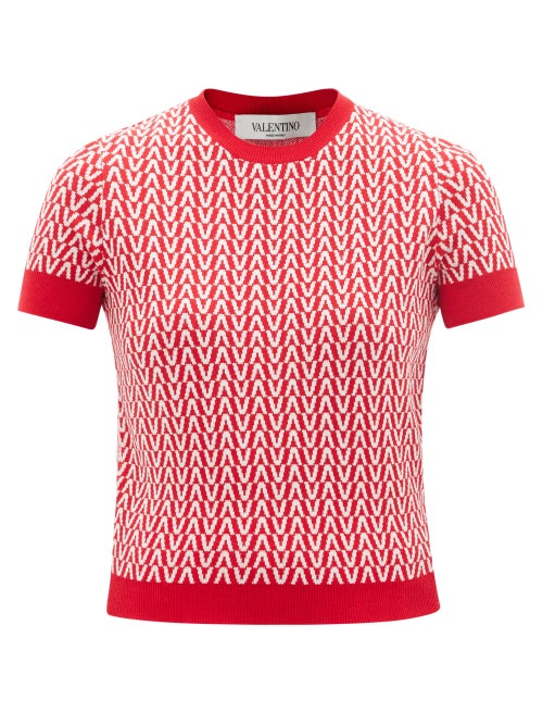 Valentino - V-jacquard Wool-blend Sweater - Womens - Red