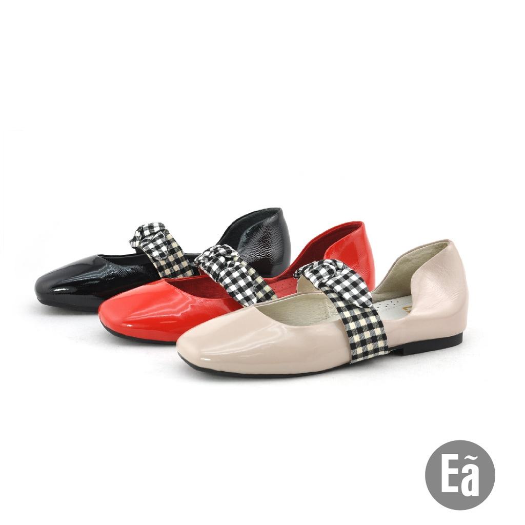 Ea專櫃女鞋 鏡面真皮 設計風 方頭 格紋 蝴蝶結 平底 懶人 樂福鞋(粉膚/蘋果紅/亮黑)