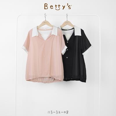 betty's貝蒂思 襯衫領假兩件雪紡上衣(黑色)