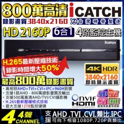 KINGNET 監視器攝影機 可取 4路監控主機 4聲 800萬 8MP 八百萬 混合型 手機遠端 5MP 1080P 傳統類比 DVR icatch