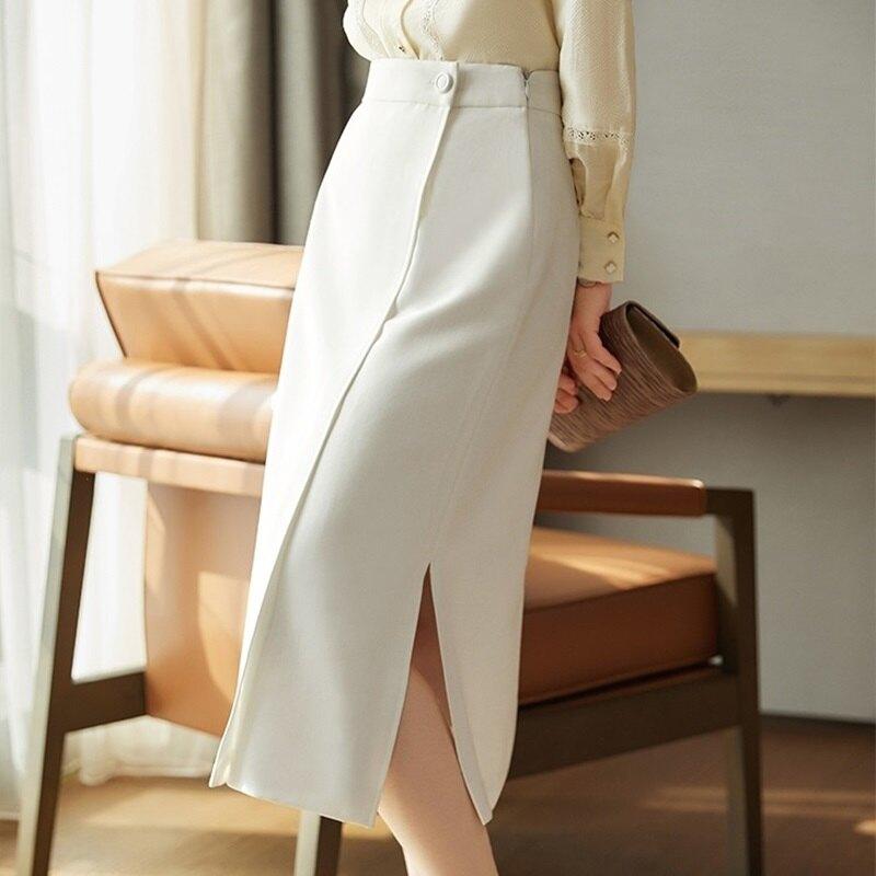 西裝裙半身裙-高腰開叉不規則A字女裙子74am17【獨家進口】【米蘭精品】
