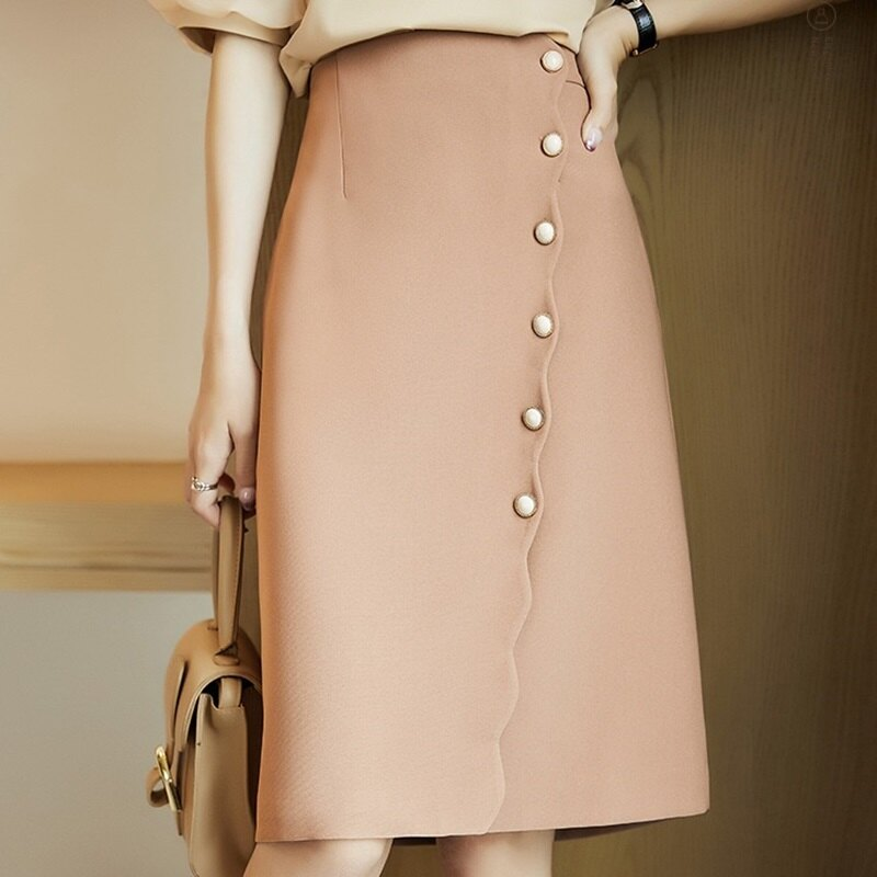 A字裙半身裙-高腰波浪邊珍珠排扣女裙子74am5【獨家進口】【米蘭精品】
