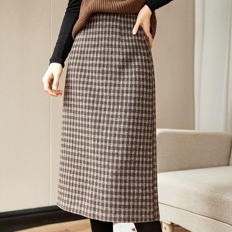 A字裙半身裙-毛呢格子高腰中長款女裙子2色74am14【獨家進口】【米蘭精品】