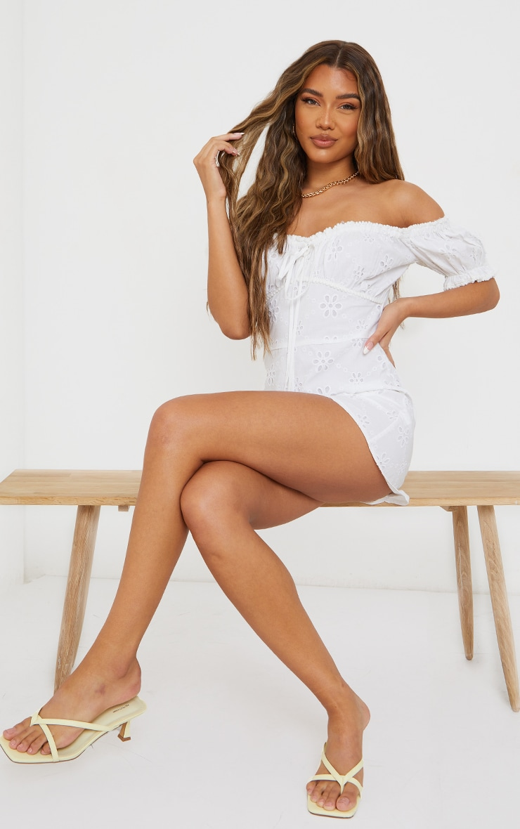 White Broderie Anglaise Bardot Ruched Bust Playsuit