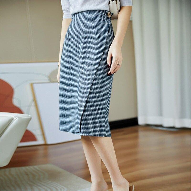格子裙半身裙-高腰斜片圍裹式開叉中長款女裙子74am3【獨家進口】【米蘭精品】