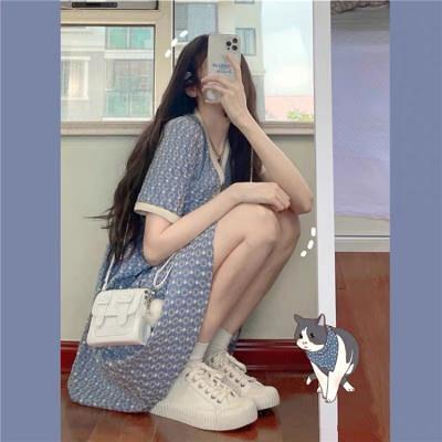 洋裝V領連身裙~奶藍色連衣裙少感刺繡泡泡袖甜美奶甜系初戀裙子N2F-A06-D 胖妹大碼裝