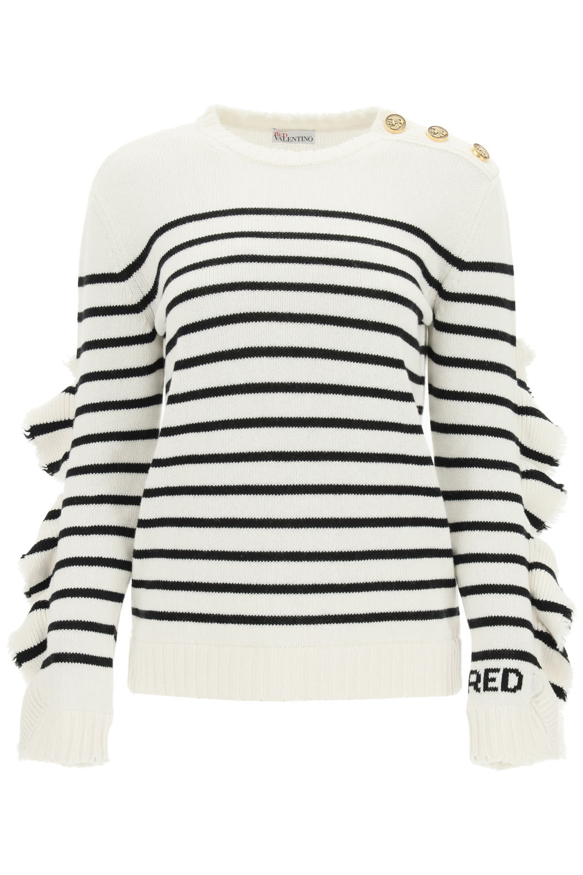 RED Valentino Striped Sweater With Ruffles