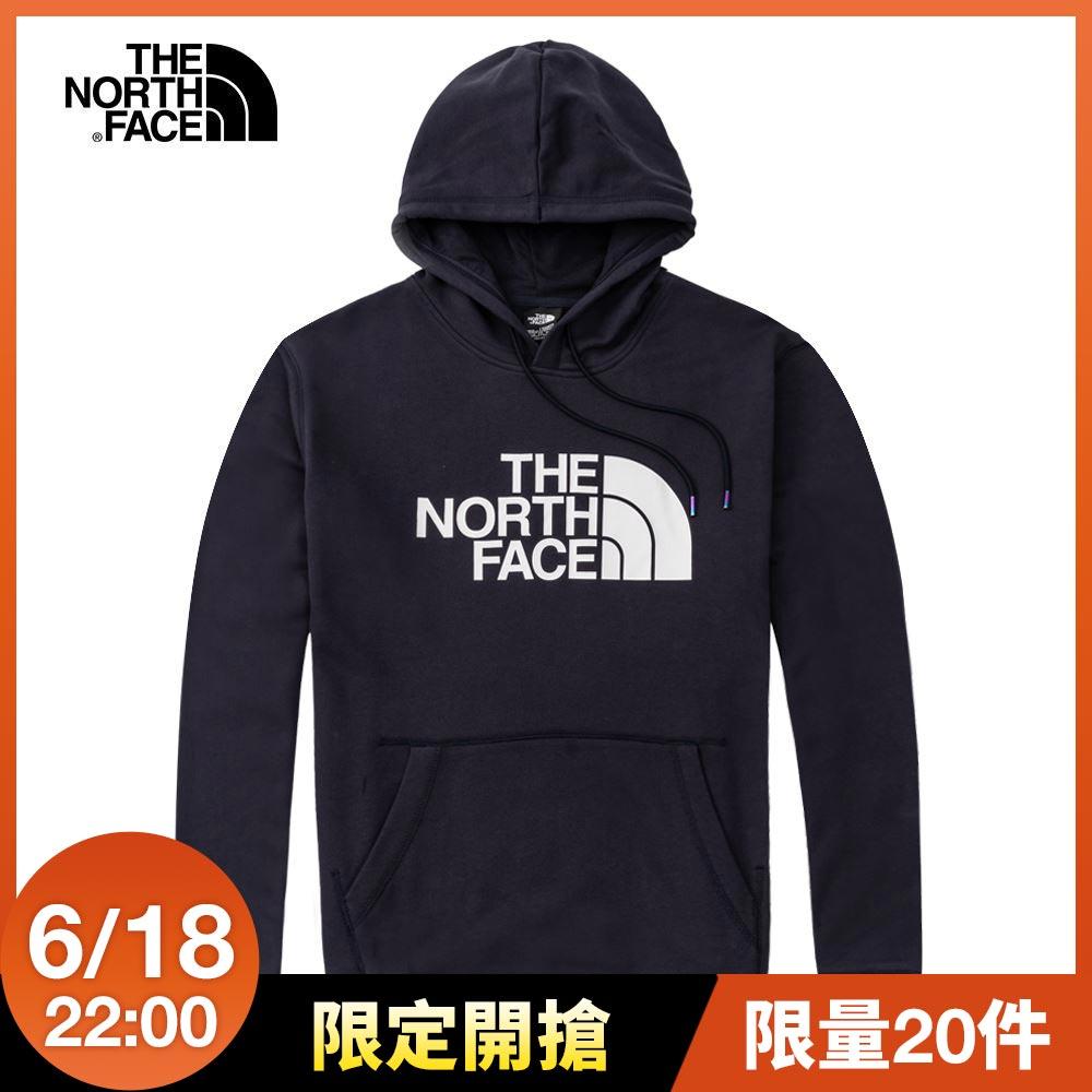The North Face北面男女款深藍色休閒連帽大學T|4U8YRG1