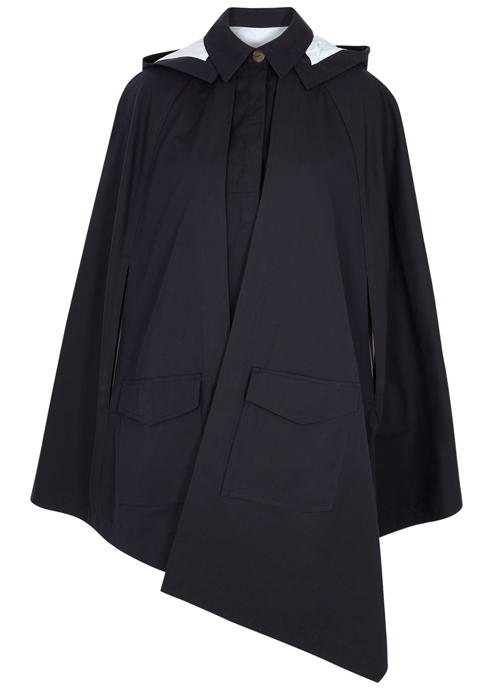 Navy hooded cotton cape