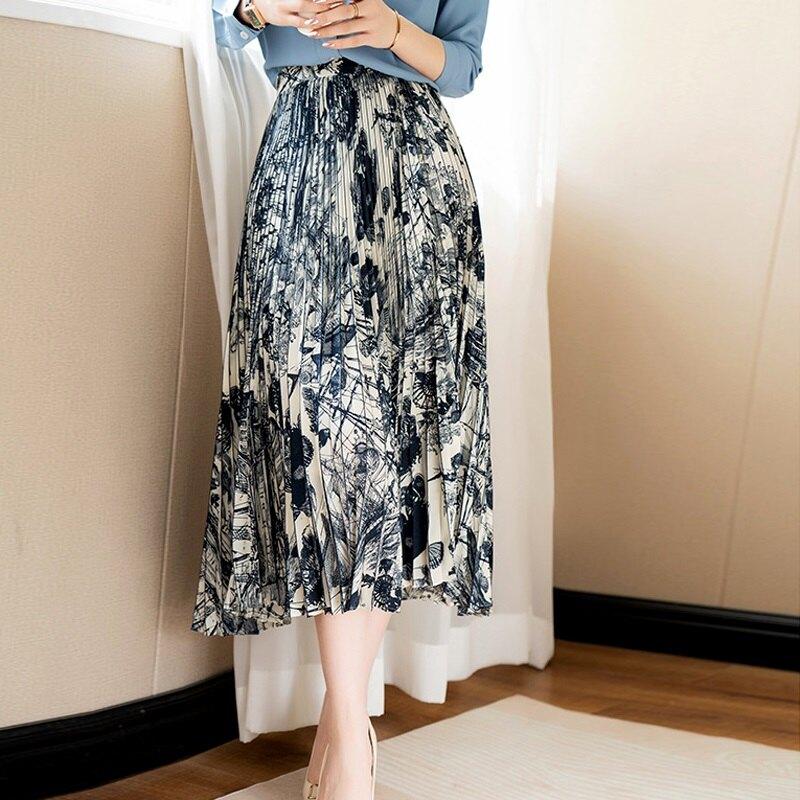 雪紡裙半身裙-海洋印花褶皺中長款女裙子74am9【獨家進口】【米蘭精品】