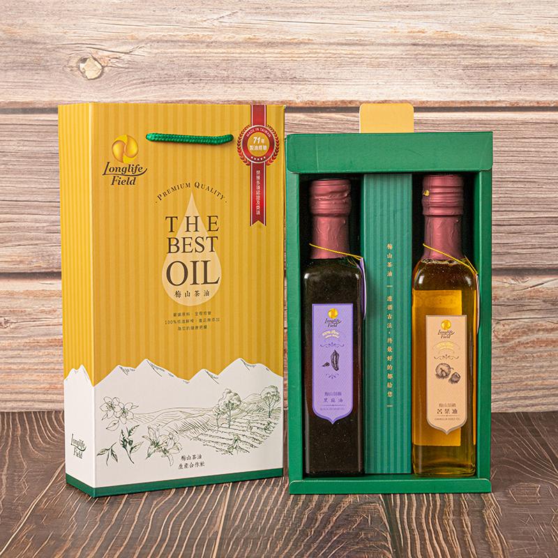 梅山茶油合作社 250ml頂級禮盒組(頂級苦茶油+頂苦黑麻油)