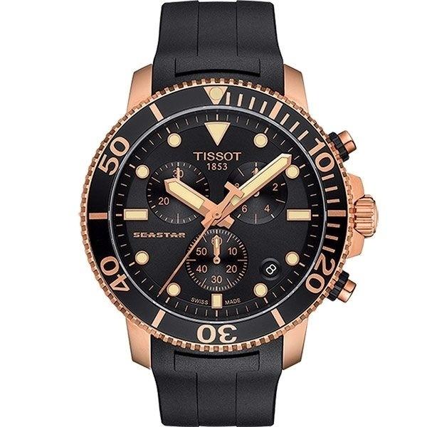 TISSOT 天梭 Seastar 海洋之星300m潛水計時錶 T1204173705100