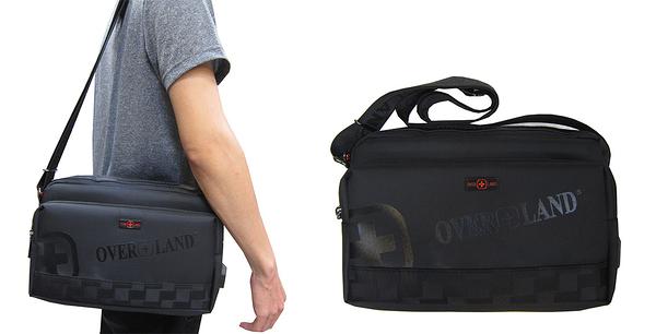 ~雪黛屋~OVER-LAND 肩側包小容量二層主袋+外袋共四層防水尼龍布+皮革USB外接+內線中性T5709(小)