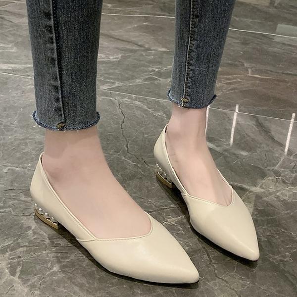 低跟鞋.知性質感素面V口鑲珍珠跟尖頭包鞋.白鳥麗子
