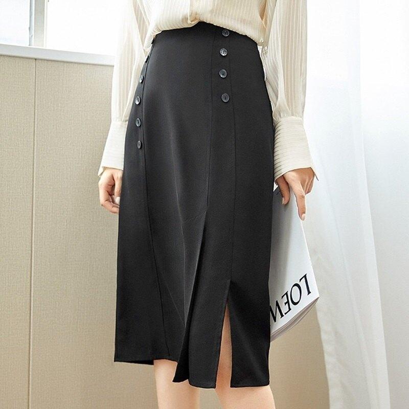 A字裙半身裙-高腰開叉自然垂墜女裙子74am18【獨家進口】【米蘭精品】