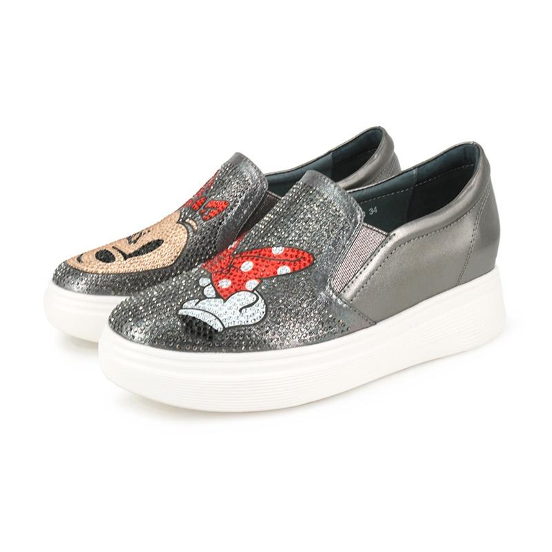 【創意者鞋坊】俏皮米奇卡通水鑽休閒鞋344J35-9 - 鐵灰\粉色\黑色 - 原價2880元