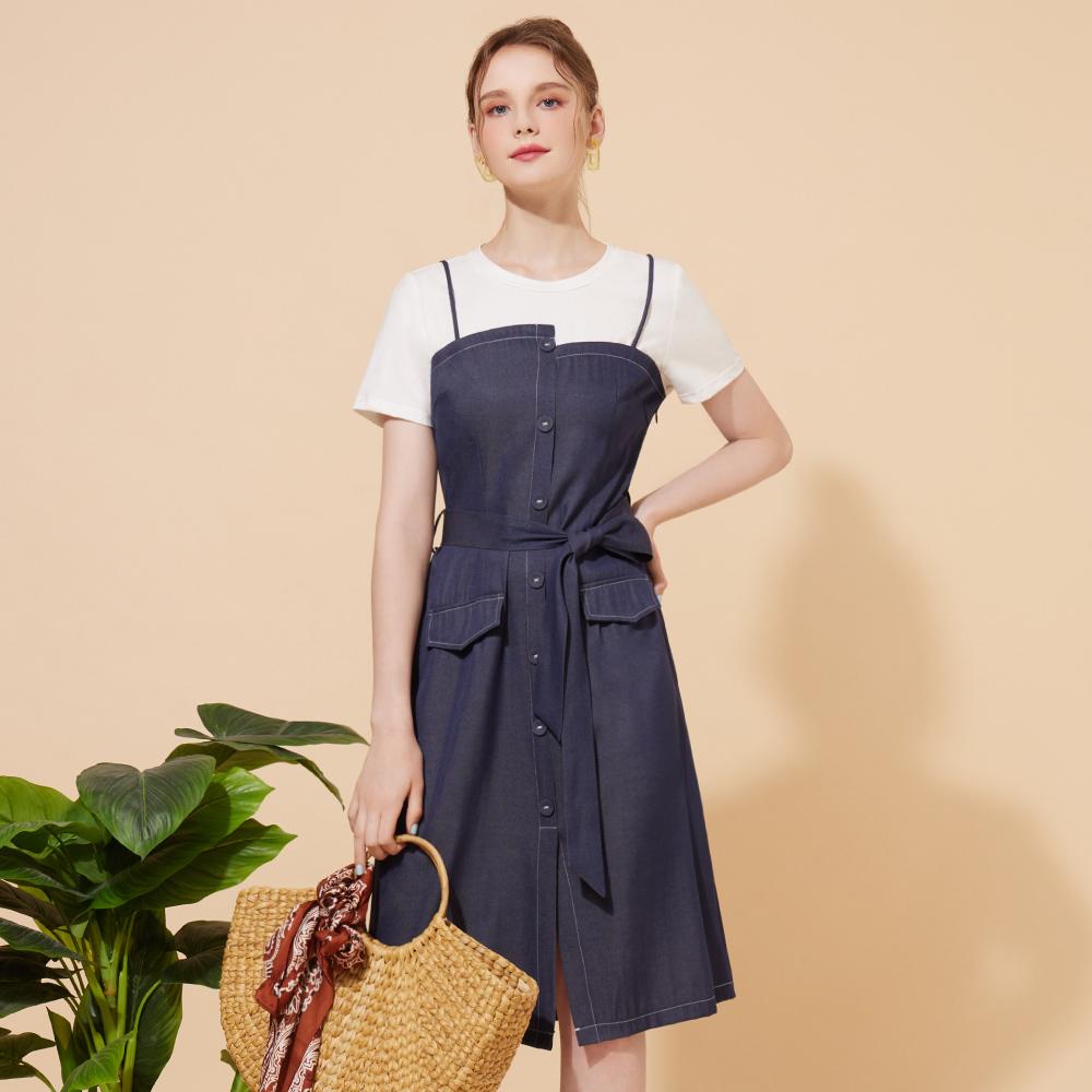 niceioi假兩件造型腰帶棉質拼接洋裝
