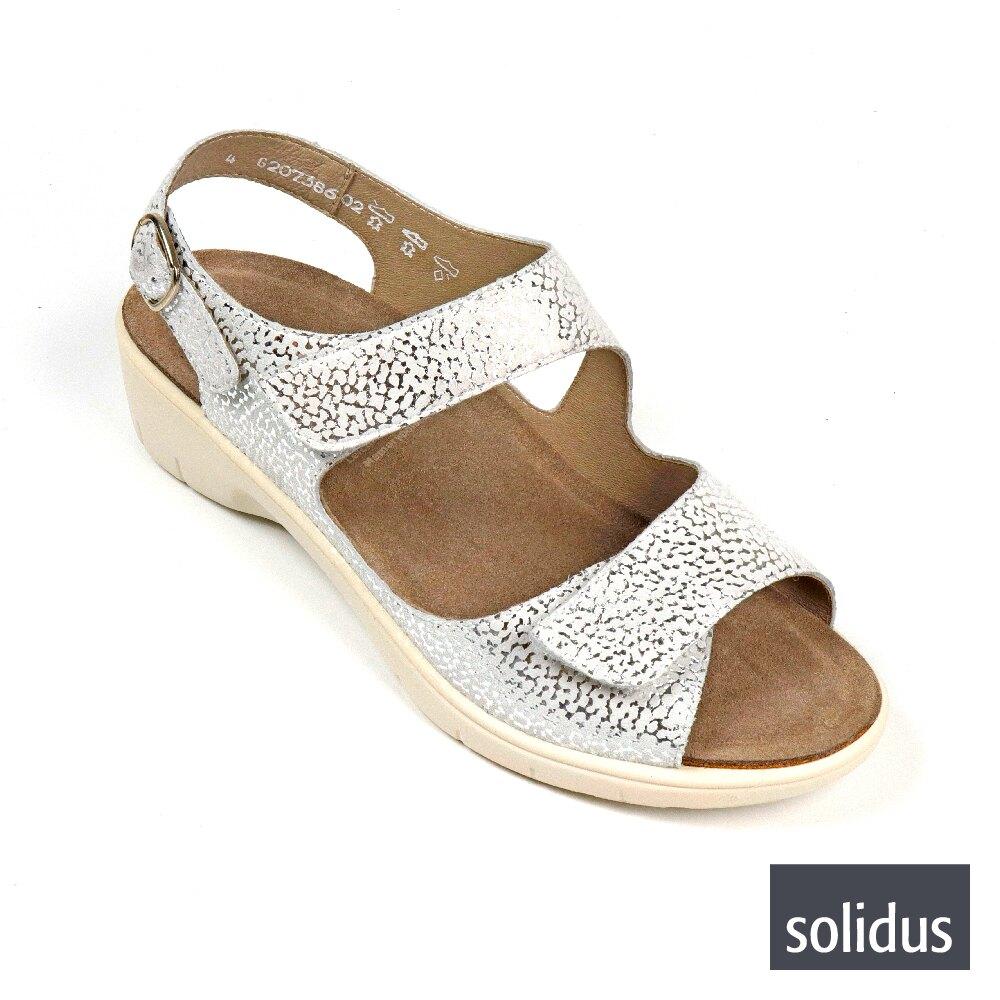 【Solidus】仿蛇皮紋魔鬼氈厚底涼鞋 銀色(24019-SIL)
