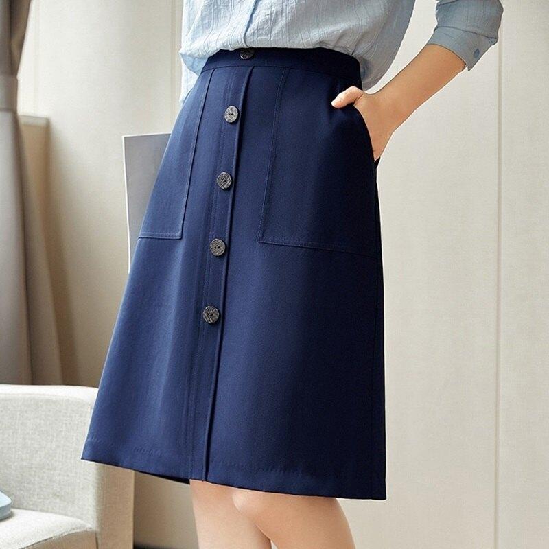 A字裙半身裙-高腰對稱大口袋單排扣女裙子74am7【獨家進口】【米蘭精品】