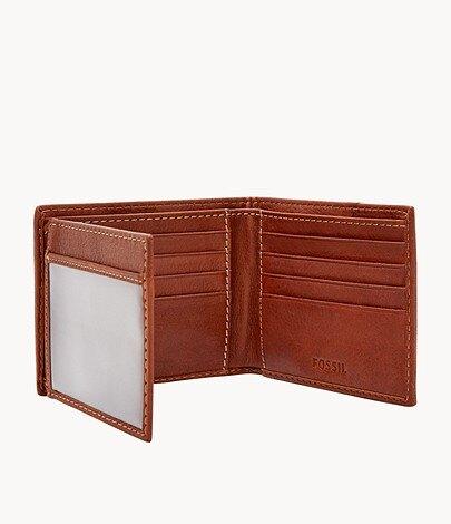 【FOSSIL】Ethan 真皮質樸零錢袋皮夾-深棕色 SML1390210