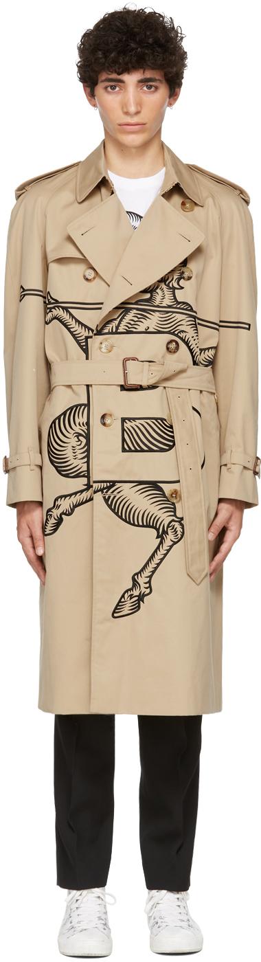 Burberry SSENSE 独家发售驼色 Mythical Alphabet 系列 Exploded Motif 刺绣风衣