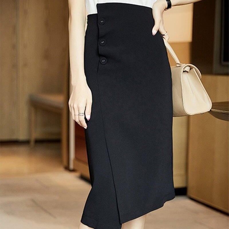 西裝裙半身裙-高腰不規則開叉一片式女裙子74am4【獨家進口】【米蘭精品】