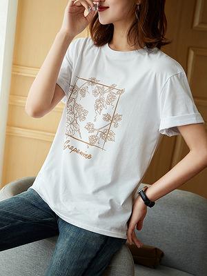 上衣大碼L-4XL尤其好穿搭敲年輕葡萄印花 純棉敲透氣 短袖T恤D303依佳衣