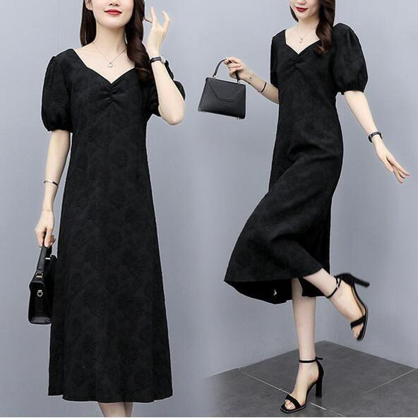 洋裝 V領 裙子 中大尺碼 L-4XL新款洋氣大碼連身裙顯瘦遮肉減齡中長款A字3F059-5068.愛尚依人
