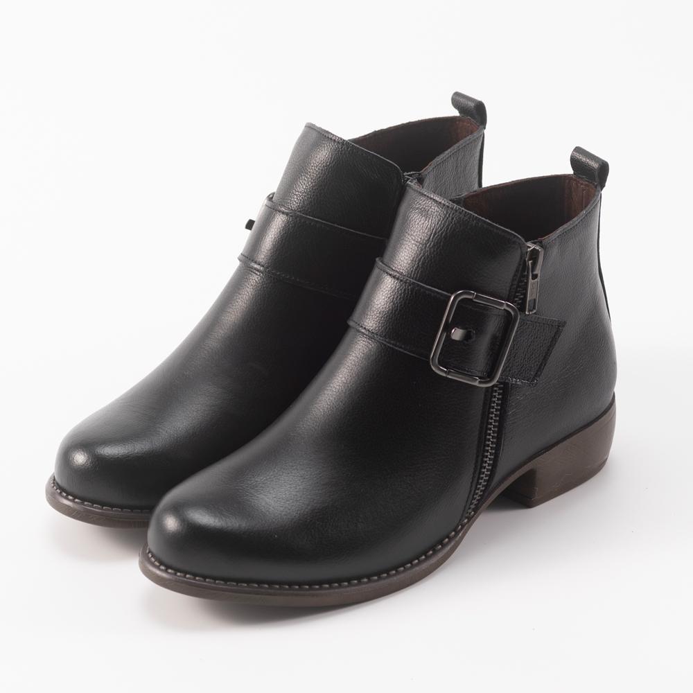Kuru Mira雙拉鍊皮帶釦騎士短靴-水墨黑