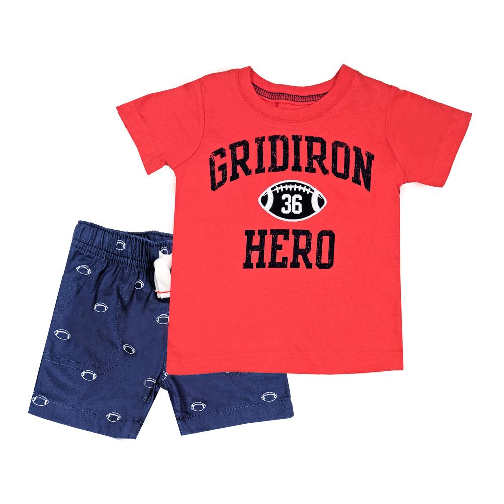 【北投之家】短袖套裝二件組 T恤上衣+短褲 紅橄欖 男寶寶 | Carter's 卡特【CA249G437】BB0301