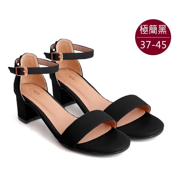 中大尺碼女鞋210408【GZ-8127-2】自訂款-一字帶搭扣踝帶中跟涼鞋 /涼鞋 37-45碼 172巷鞋舖(預購) 極簡黑