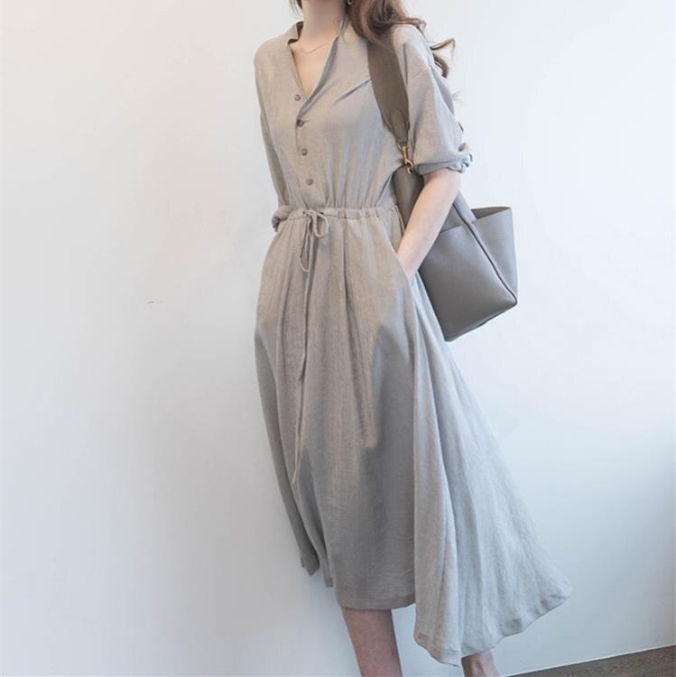 襯衫洋裝 輕熟溫柔風連身裙女夏季收腰顯瘦顯高氣質襯衫長裙子女裝-