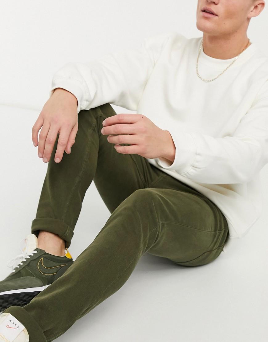 Topman organic cotton stretch skinny jeans in khaki-Green