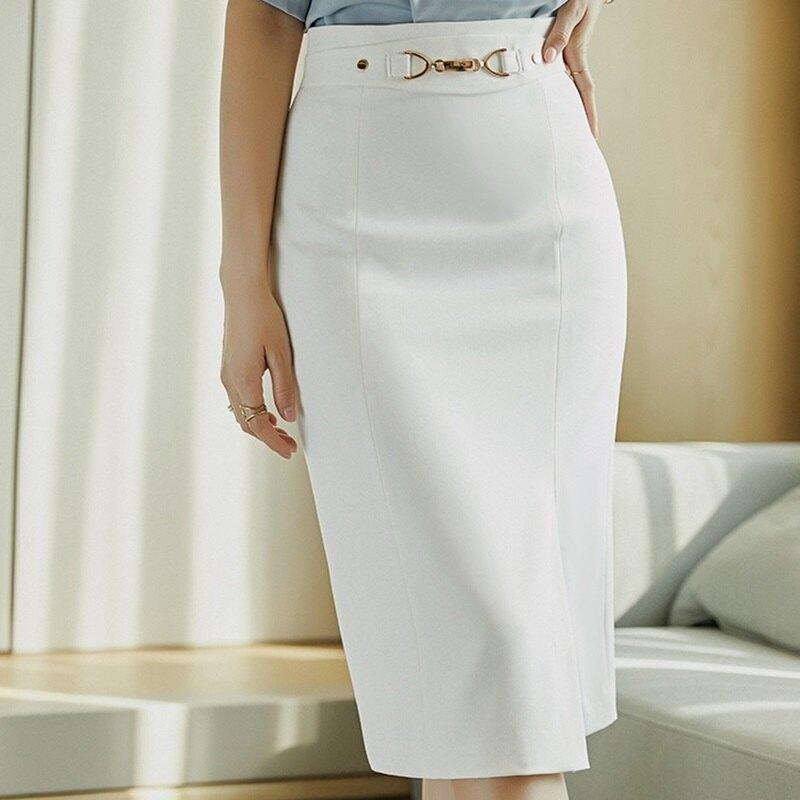 西裝裙半身裙-高腰包臀直筒斜開叉女裙子74am2【獨家進口】【米蘭精品】