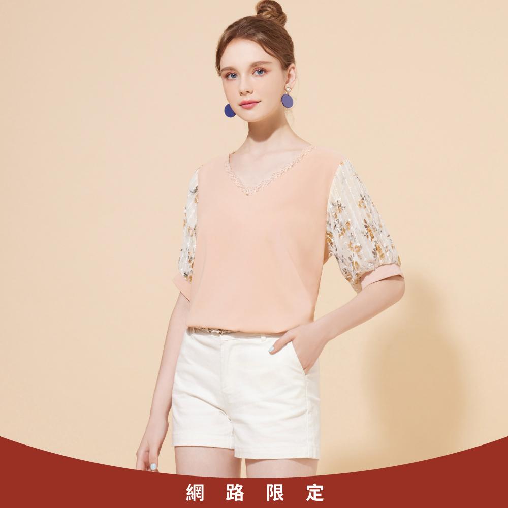 niceioi氣質拼接微透膚造型袖雪紡上衣