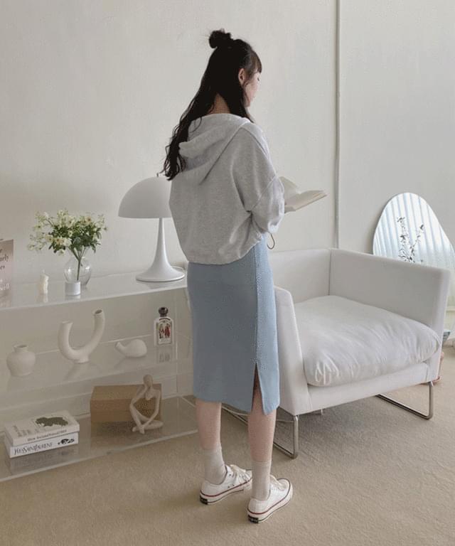 韓國空運 - Big Size 26-32 Inch Blanc Banding Split Basic Midi Skirt 裙子