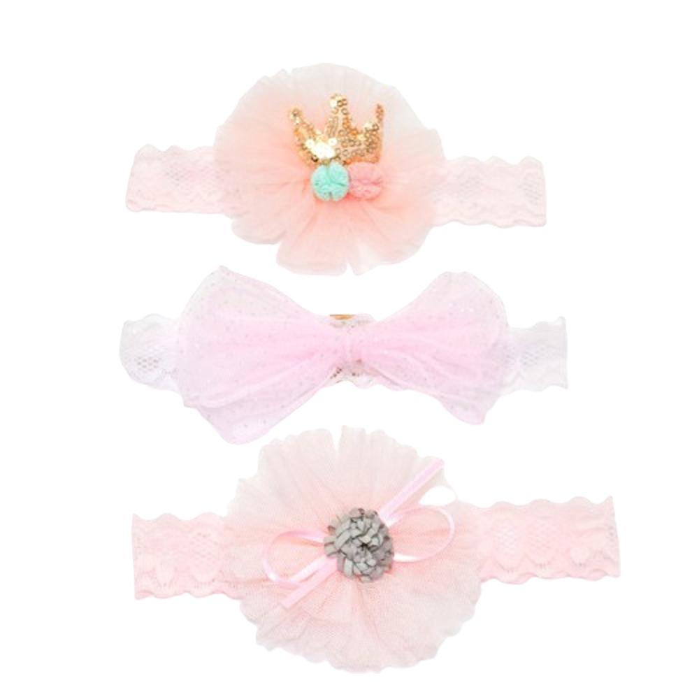 【北投之家】韓式公主蝴蝶結髮帶禮盒 三件組 網紗皇冠【CH003A3070】