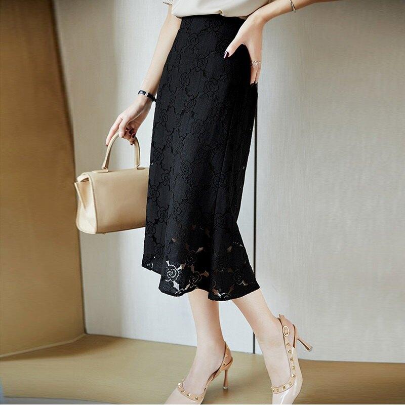 蕾絲裙半身裙-刺繡鏤空中長款高腰女裙子74am1【獨家進口】【米蘭精品】