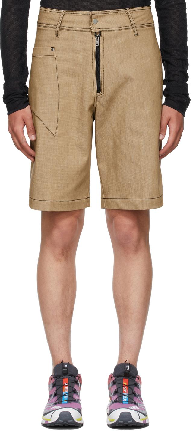 Vejas 驼色 Dagger Pocket Cut-Off 短裤