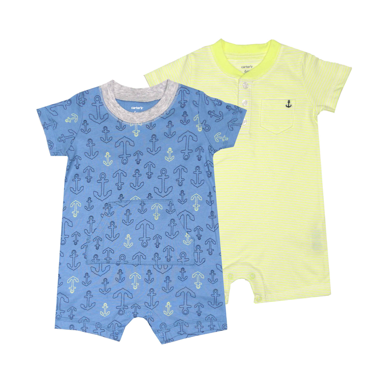 【北投之家】短袖兔裝連身衣 圓領包屁衣二件組 藍船勾 男寶寶 | Carter's 卡特【CA121I231】BB0101
